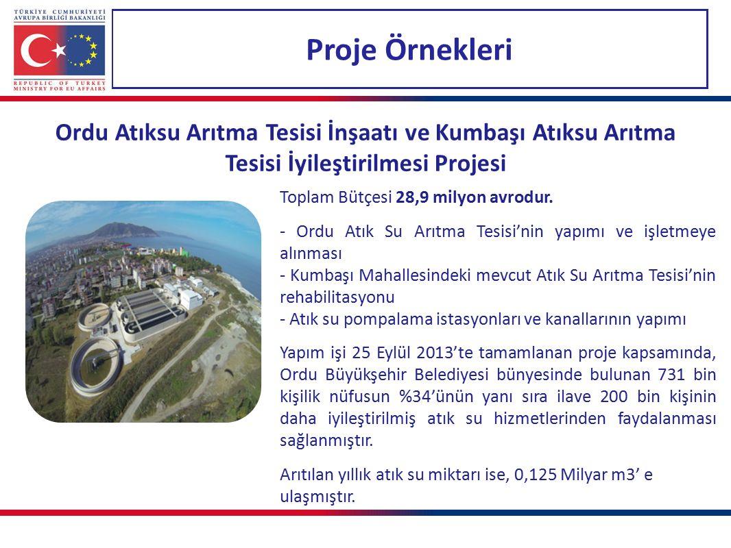 Proje Örnekleri Ordu Atıksu Arıtma Tesisi İnşaatı ve Kumbaşı Atıksu Arıtma Tesisi İyileştirilmesi Projesi Toplam Bütçesi 28,9 milyon avrodur.
