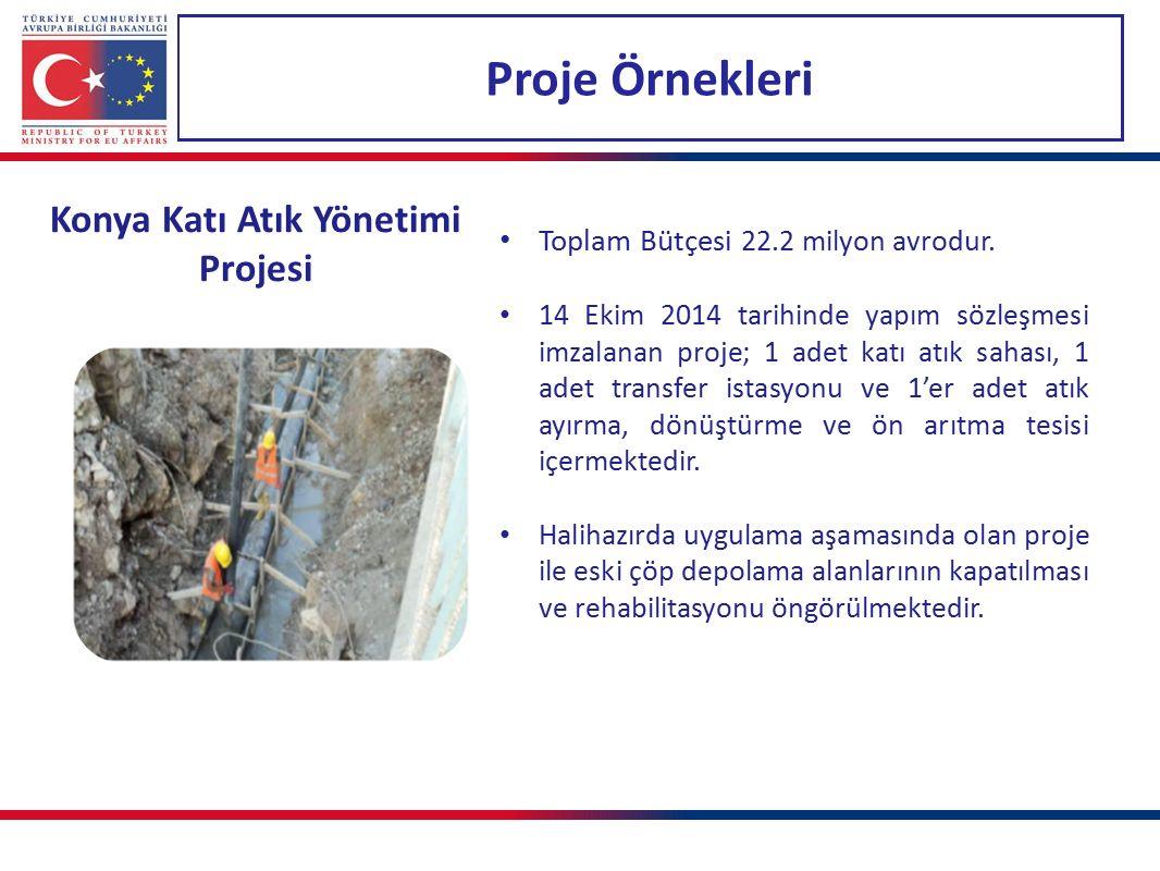 Proje Örnekleri Konya Katı Atık Yönetimi Projesi Toplam Bütçesi 22.2 milyon avrodur. 14 Ekim 2014 tarihinde yapım sözleşmesi imzalanan proje; 1 adet k