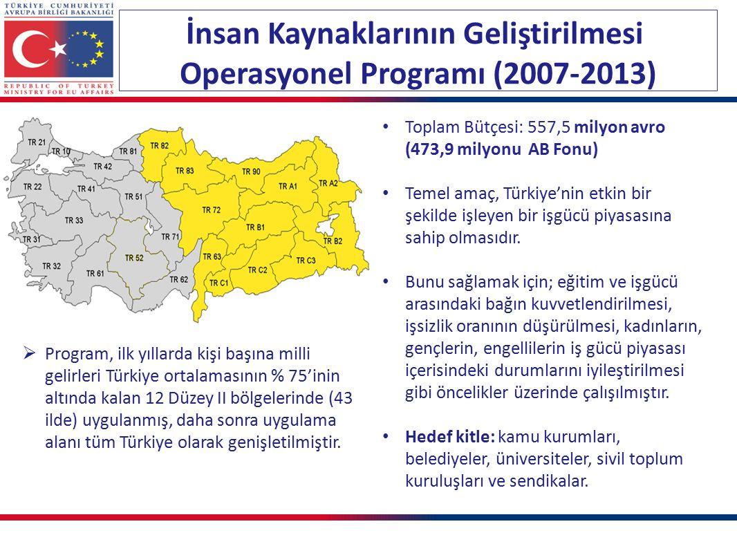 İnsan Kaynaklarının Geliştirilmesi Operasyonel Programı (2007-2013) Toplam Bütçesi: 557,5 milyon avro (473,9 milyonu AB Fonu) Temel amaç, Türkiye'nin etkin bir şekilde işleyen bir işgücü piyasasına sahip olmasıdır.