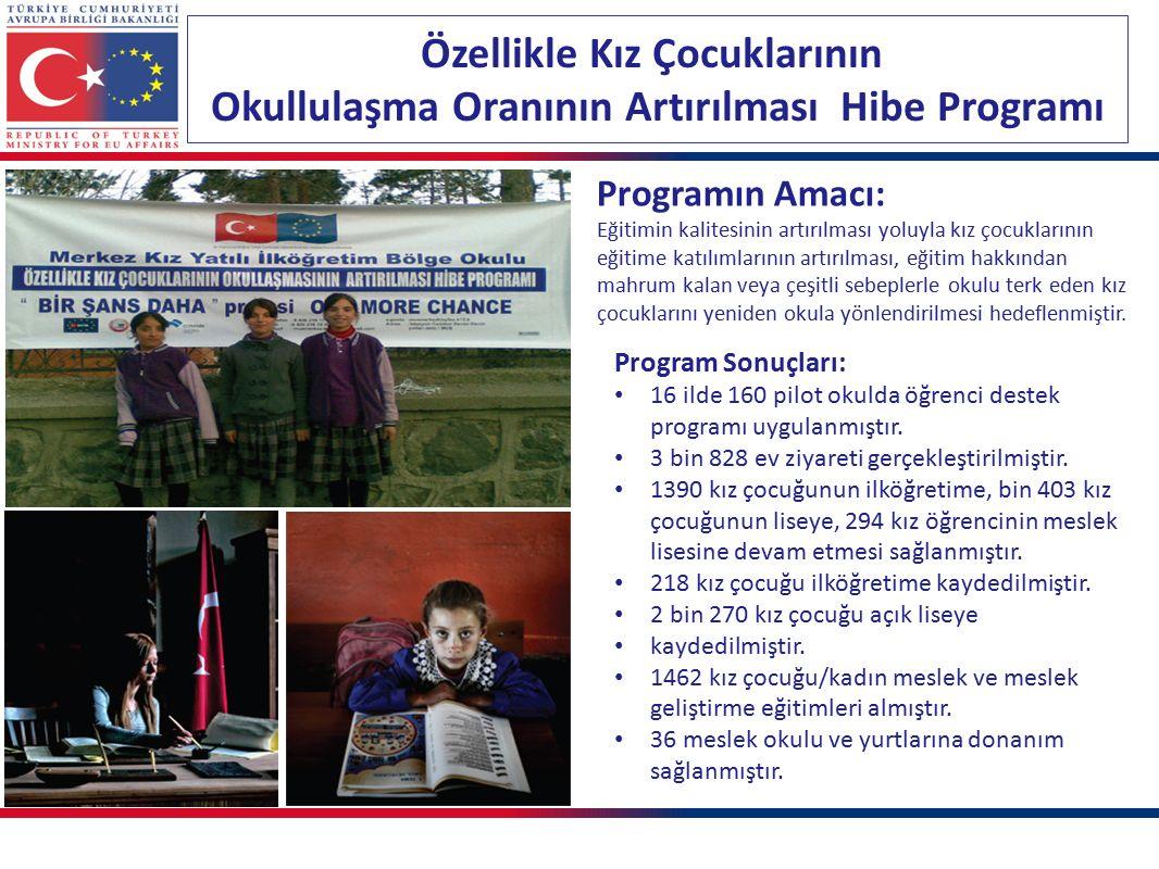 Özellikle Kız Çocuklarının Okullulaşma Oranının Artırılması Hibe Programı Program Sonuçları: 16 ilde 160 pilot okulda öğrenci destek programı uygulanmıştır.