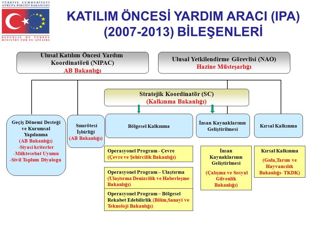 Stratejik Koordinatör (SC) (Kalkınma Bakanlığı) Bölgesel Kalkınma Geçiş Dönemi Desteği ve Kurumsal Yapılanma (AB Bakanlığı) -Siyasi kriterler -Müktesebat Uyumu -Sivil Toplum Diyalogu Sınırötesi İşbirliği (AB Bakanlığı) İnsan Kaynaklarının Geliştirilmesi Kırsal Kalkınma Operasyonel Program - Çevre (Çevre ve Şehircilik Bakanlığı) Operasyonel Program – Ulaştırma (Ulaştırma Denizcilik ve Haberleşme Bakanlığı) Operasyonel Program – Bölgesel Rekabet Edebilirlik (Bilim,Sanayi ve Teknoloji Bakanlığı) İnsan Kaynaklarının Geliştirlmesi (Çalışma ve Sosyal Güvenlik Bakanlığı) Kırsal Kalkınma (Gıda,Tarım ve Hayvancılık Bakanlığı- TKDK) Ulusal Katılım Öncesi Yardım Koordinatörü (NIPAC) AB Bakanlığı Ulusal Yetkilendirme Görevlisi (NAO) Hazine Müsteşarlığı KATILIM ÖNCESİ YARDIM ARACI (IPA) (2007-2013) BİLEŞENLERİ