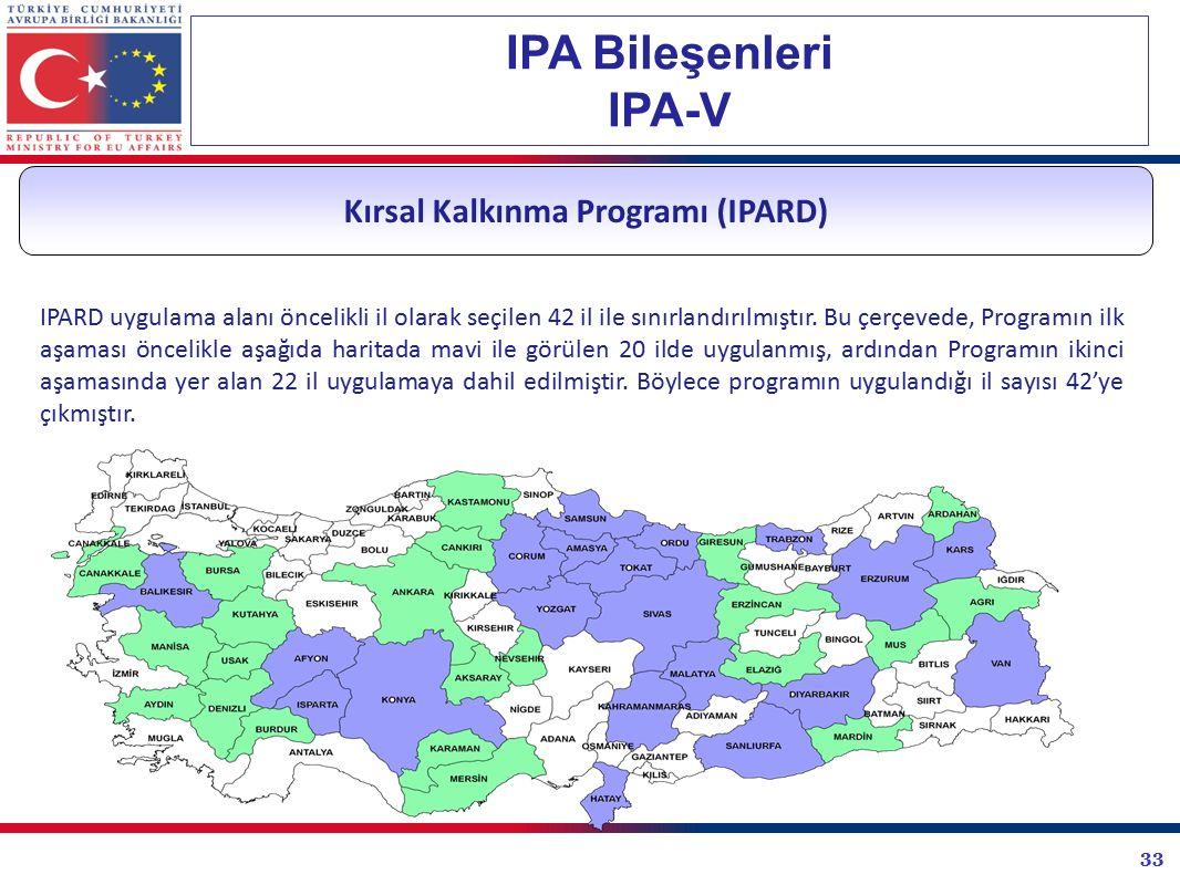 33 IPA Bileşenleri IPA-V Kırsal Kalkınma Programı (IPARD) IPARD uygulama alanı öncelikli il olarak seçilen 42 il ile sınırlandırılmıştır. Bu çerçevede