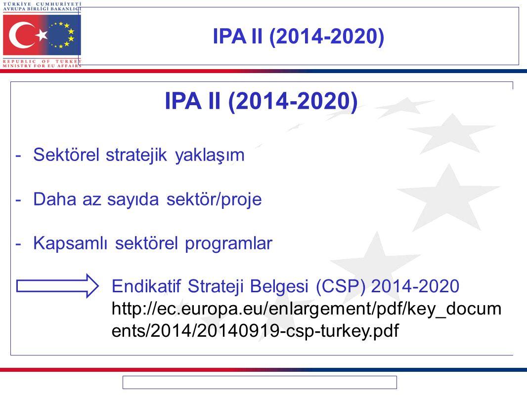 IPA II (2014-2020) -Sektörel stratejik yaklaşım -Daha az sayıda sektör/proje -Kapsamlı sektörel programlar IPA II (2014-2020) Endikatif Strateji Belge