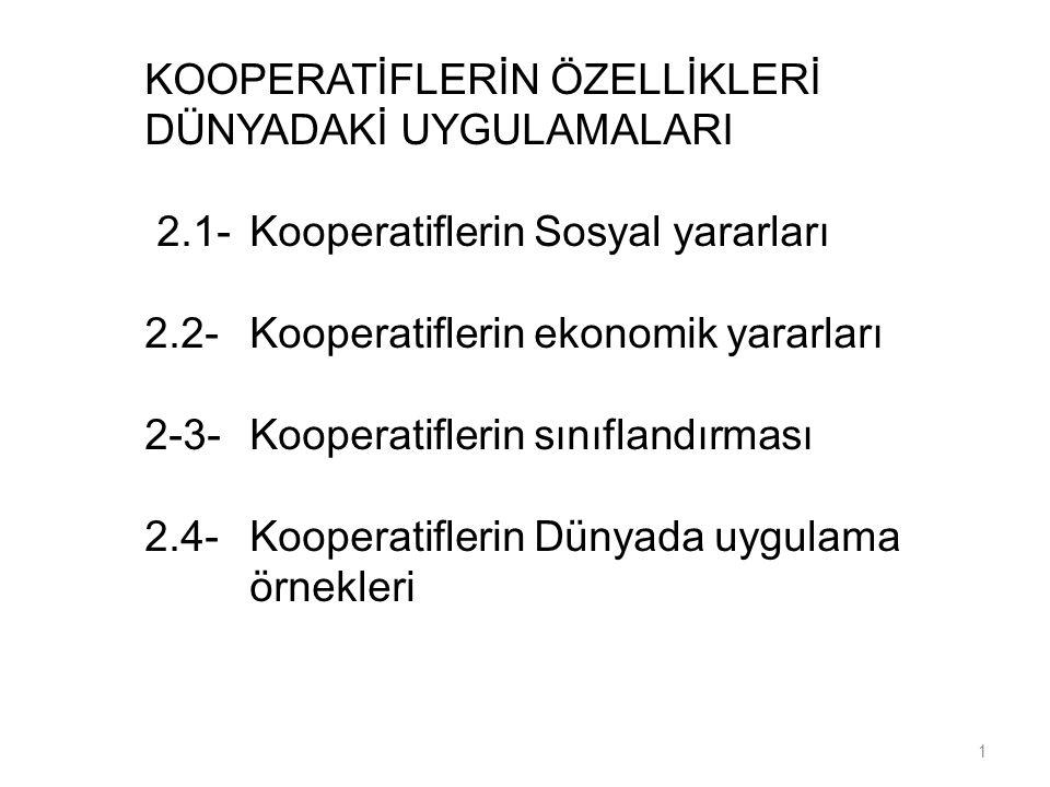 Ünite-2 KOOPERATİFLERİN ÖZELLİKLERİ DÜNYADAKİ UYGULAMALARI 2.1-Kooperatiflerin Sosyal yararları 2.2-Kooperatiflerin ekonomik yararları 2-3-Kooperatifl
