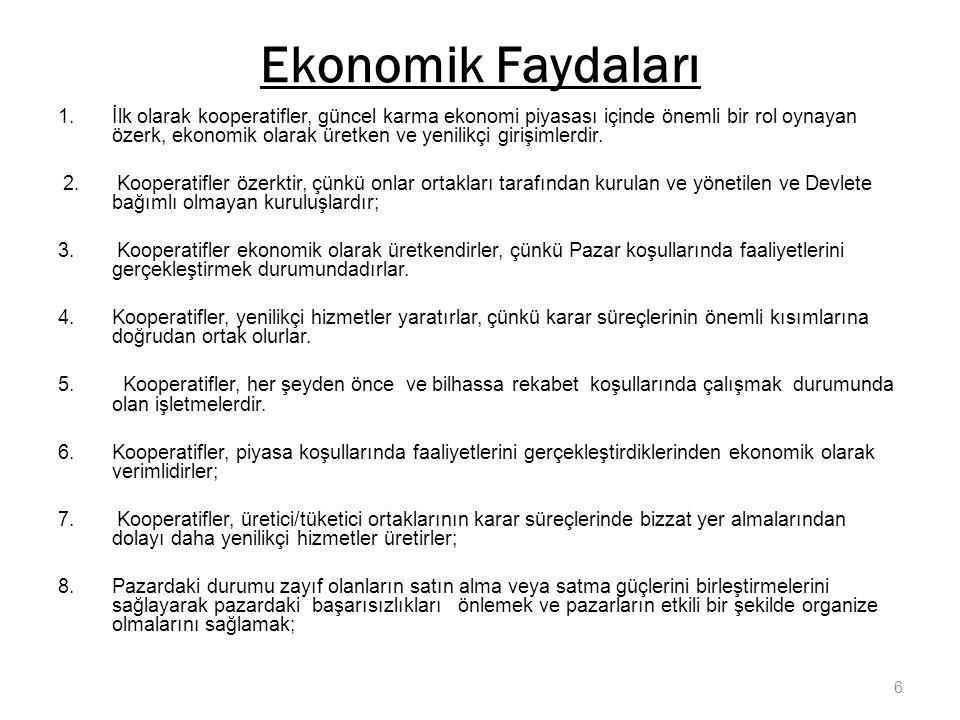 Ekonomik Faydaları 1.İlk olarak kooperatifler, güncel karma ekonomi piyasası içinde önemli bir rol oynayan özerk, ekonomik olarak üretken ve yenilikçi