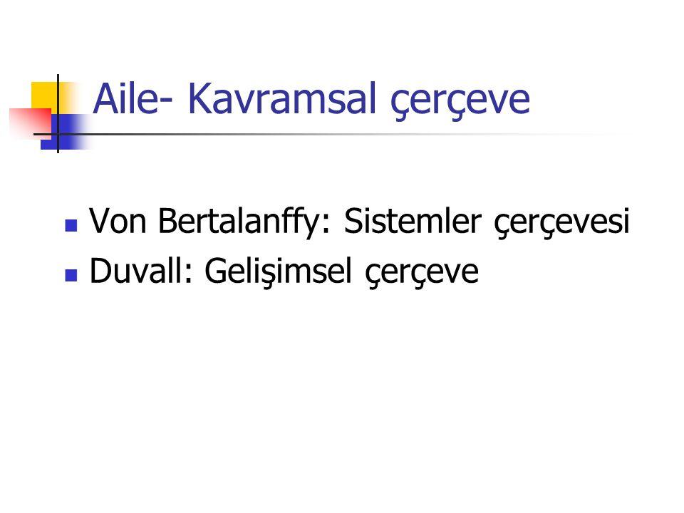 Aile- Kavramsal çerçeve Von Bertalanffy: Sistemler çerçevesi Duvall: Gelişimsel çerçeve
