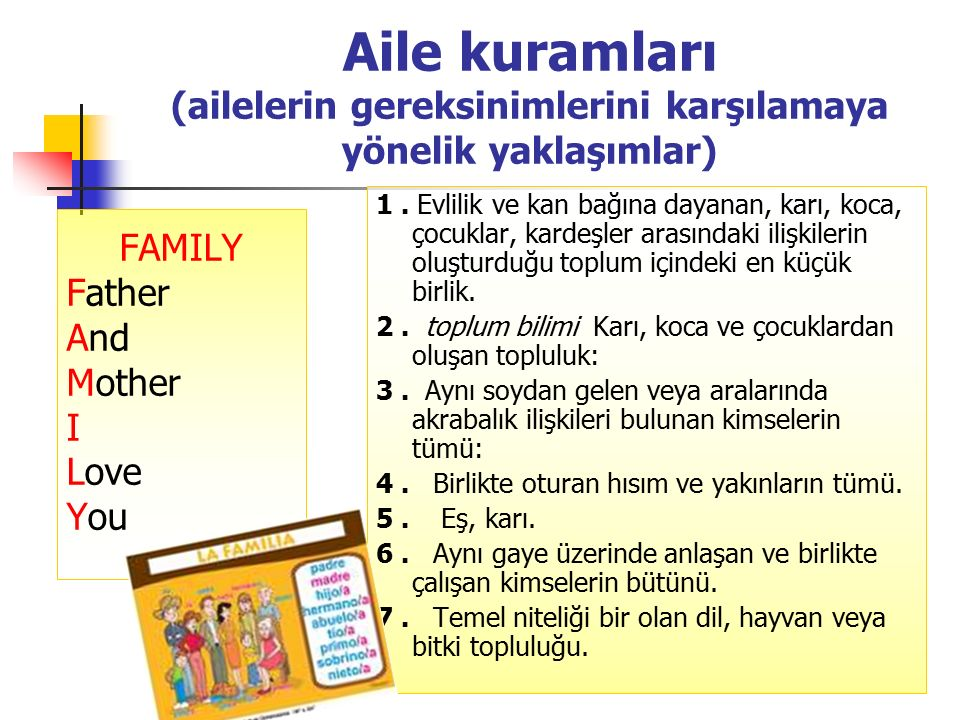 Aile kuramları (ailelerin gereksinimlerini karşılamaya yönelik yaklaşımlar) Sistem yaklaşımları Yapısal yaklaşımlar Fonksiyonel yaklaşımlar Gelişimsel yaklaşımlar Aile Sistem Teorisi Etkileşim Teorileri Ex-change teorileri