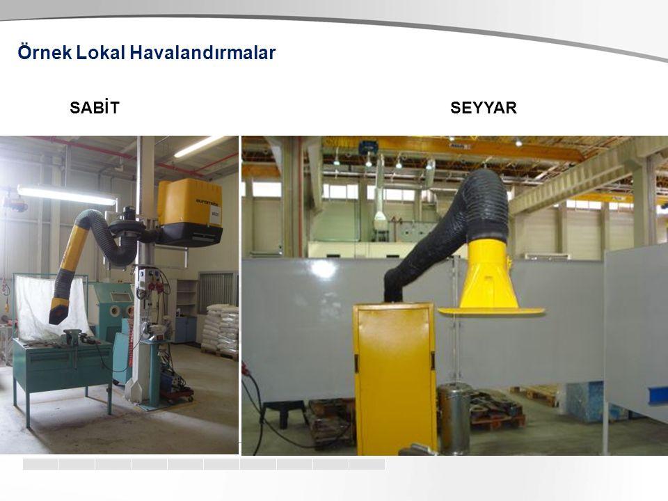 b) Lokal Havalandırma Lokal havalandırma işyeri ortamında kirleticiyi yakalama yoluyla hava kirleticilerini kontrol etmek için kullanılır. Toksik kirl