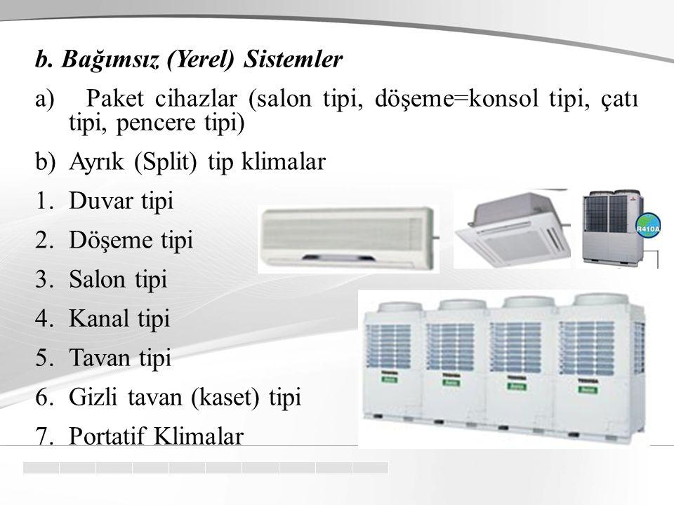 Sınıflandırma a. Merkezî Sistemler Bu tür sistemler daha çok büyük binaların iklimlendirilmesi için kullanılır. Bir kazan ve radyatörlerden oluşan bir