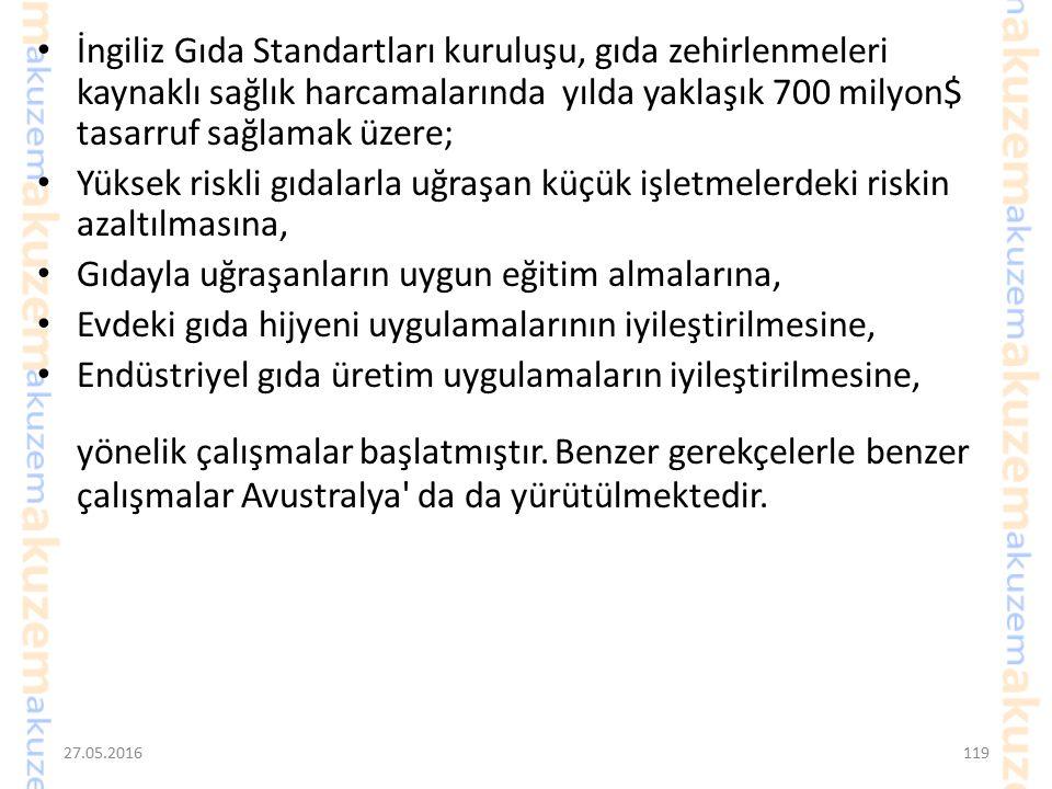 27.05.2016118 Türkiye'de sağlıklı rakamlar bulunmamakla birlikte, gıda güvenliği sistemini kurmuş, sürekli denetimlerini yapan, eğitim ve gelir düzeyi