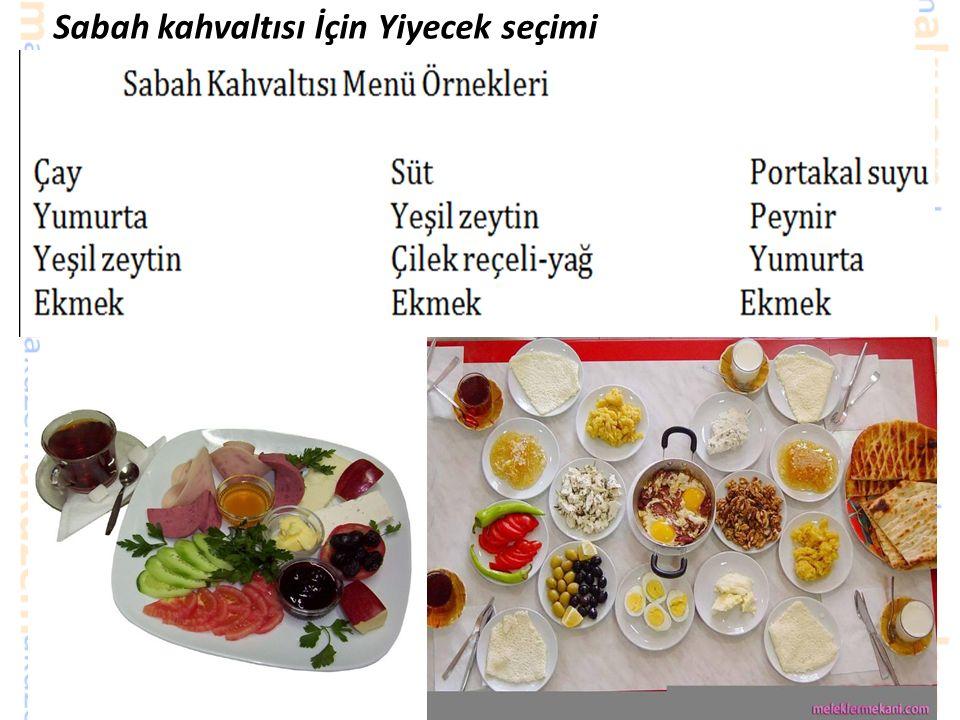 Sabah kahvaltısı İçin Yiyecek seçimi Kahvaltı planlanırken şu esaslara uyulmalıdır; ♥ Her gün süt peynir ve yumurtadan birinin mutlaka kahvaltıda bulundurulması gerekir.