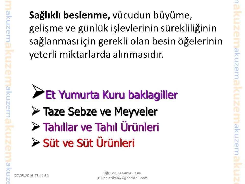 27.05.2016 23:44:42 Öğr.Gör. Güven ARIKAN guven.arikan63@hotmail.com Mevsimsel Beslenme Biz, Türk toplumu olarak dengelemeyi bilmiyoruz, sadece yemeği