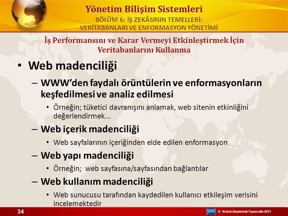 © Nobel Akademik Yayıncılık 2011 Yönetim Bilişim Sistemleri Web madenciliği – WWW'den faydalı örüntülerin ve enformasyonların keşfedilmesi ve analiz e