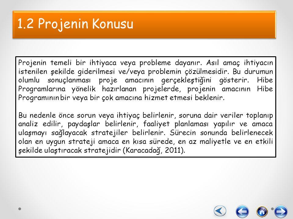 1.2 Projenin Konusu Projenin temeli bir ihtiyaca veya probleme dayanır.
