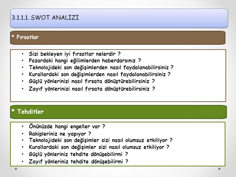 3.1.1.1. SWOT ANALİZİ Sizi bekleyen iyi fırsatlar nelerdir .