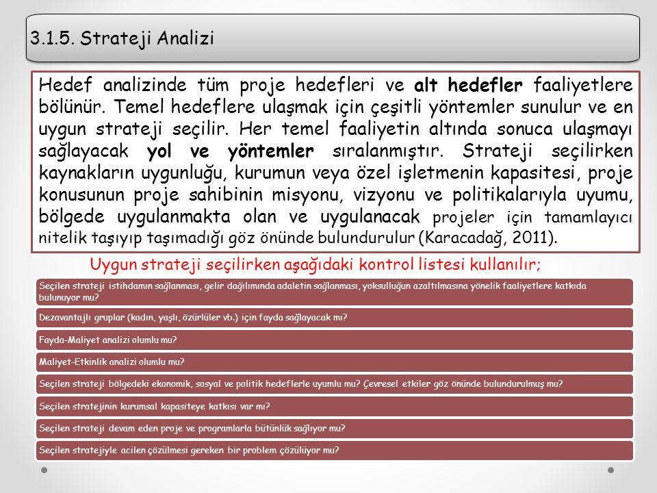3.1.5.Strateji Analizi 3.1.5.
