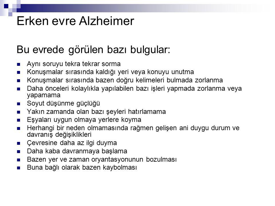 Erken evre Alzheimer Bu evrede görülen bazı bulgular: Aynı soruyu tekra tekrar sorma Konuşmalar sırasında kaldığı yeri veya konuyu unutma Konuşmalar s