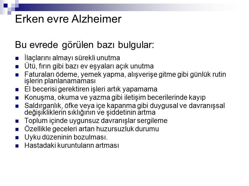 Erken evre Alzheimer Bu evrede görülen bazı bulgular: İlaçlarını almayı sürekli unutma Ütü, fırın gibi bazı ev eşyaları açık unutma Faturaları ödeme,