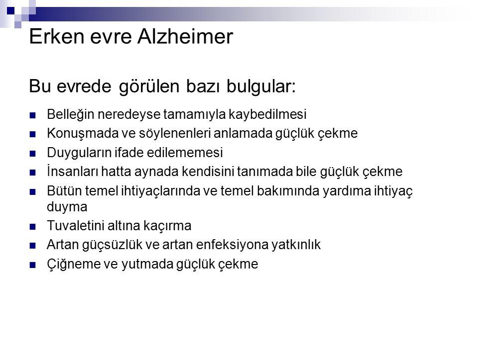 Erken evre Alzheimer Bu evrede görülen bazı bulgular: Belleğin neredeyse tamamıyla kaybedilmesi Konuşmada ve söylenenleri anlamada güçlük çekme Duygul