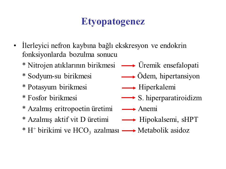 Etyopatogenez İlerleyici nefron kaybına bağlı ekskresyon ve endokrin fonksiyonlarda bozulma sonucu * Nitrojen atıklarının birikmesi Üremik ensefalopat
