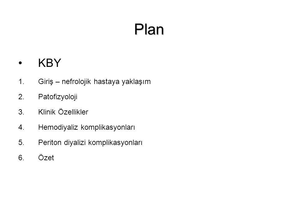 Plan KBY 1.Giriş – nefrolojik hastaya yaklaşım 2.Patofizyoloji 3.Klinik Özellikler 4.Hemodiyaliz komplikasyonları 5.Periton diyalizi komplikasyonları
