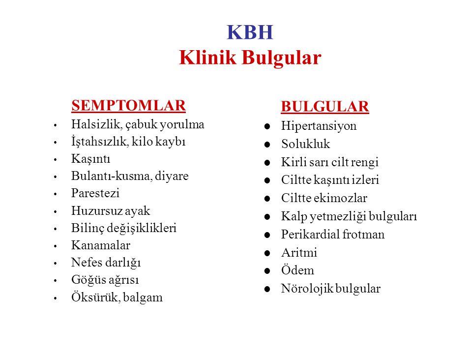 KBH Klinik Bulgular SEMPTOMLAR Halsizlik, çabuk yorulma İştahsızlık, kilo kaybı Kaşıntı Bulantı-kusma, diyare Parestezi Huzursuz ayak Bilinç değişikli
