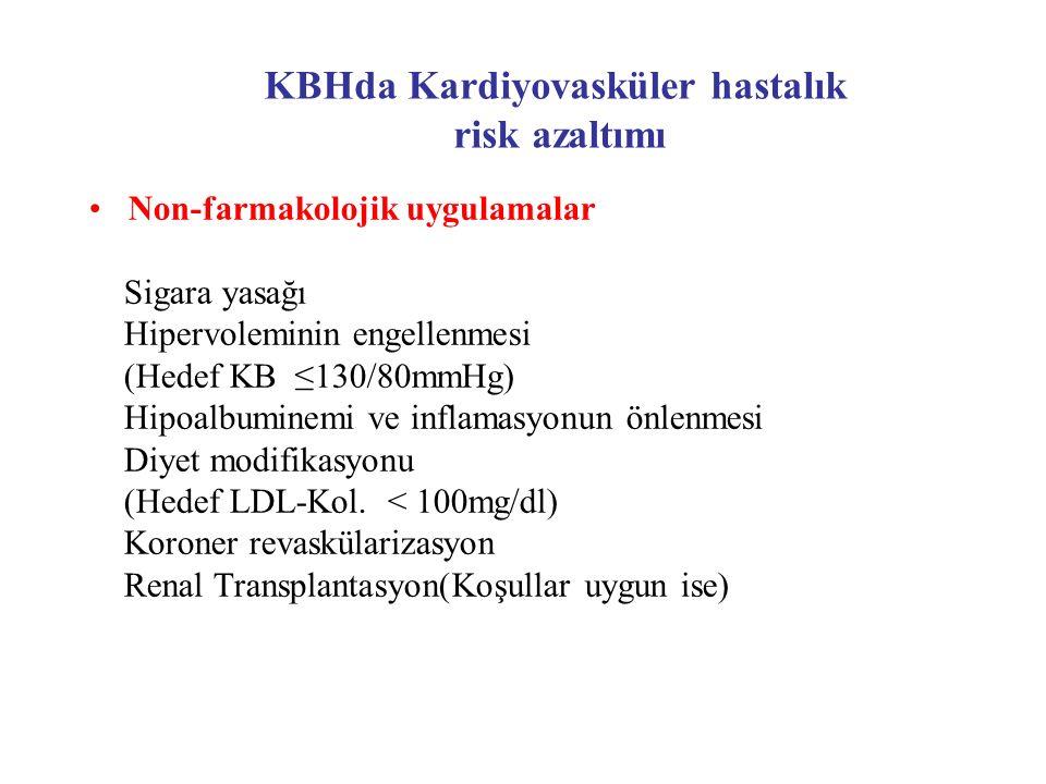 KBHda Kardiyovasküler hastalık risk azaltımı Non-farmakolojik uygulamalar Sigara yasağı Hipervoleminin engellenmesi (Hedef KB ≤130/80mmHg) Hipoalbumin