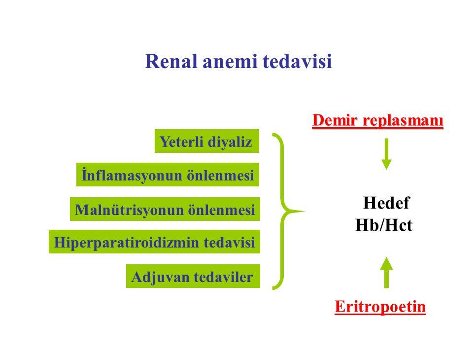 Renal anemi tedavisi Yeterli diyaliz Malnütrisyonun önlenmesi İnflamasyonun önlenmesi Hiperparatiroidizmin tedavisi Demir replasmanı Hedef Hb/Hct Erit