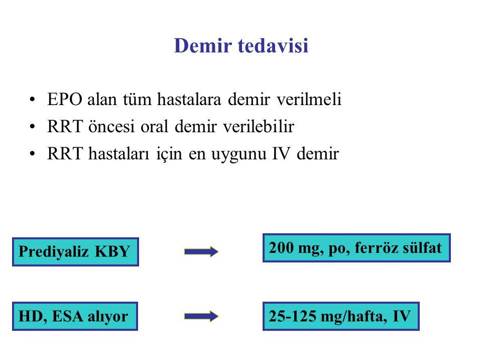 Demir tedavisi EPO alan tüm hastalara demir verilmeli RRT öncesi oral demir verilebilir RRT hastaları için en uygunu IV demir Prediyaliz KBY HD, ESA a