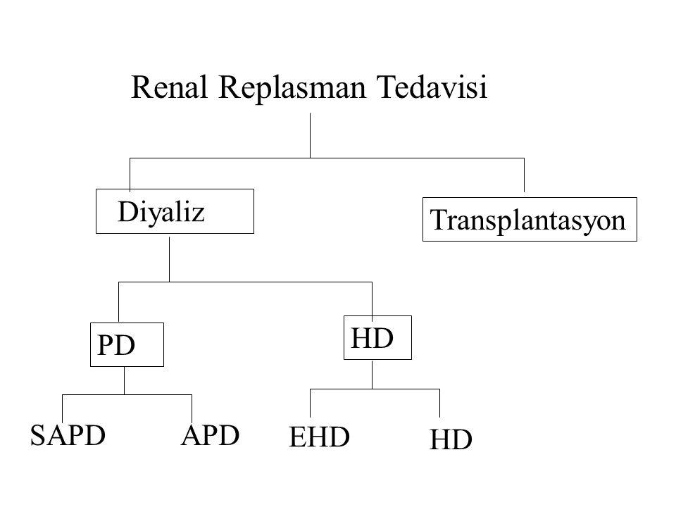 Renal Replasman Tedavisi Diyaliz Transplantasyon PD HD SAPDAPD EHD HD