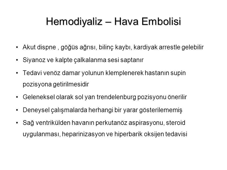Hemodiyaliz – Hava Embolisi Akut dispne, göğüs ağrısı, bilinç kaybı, kardiyak arrestle gelebilir Siyanoz ve kalpte çalkalanma sesi saptanır Tedavi ven