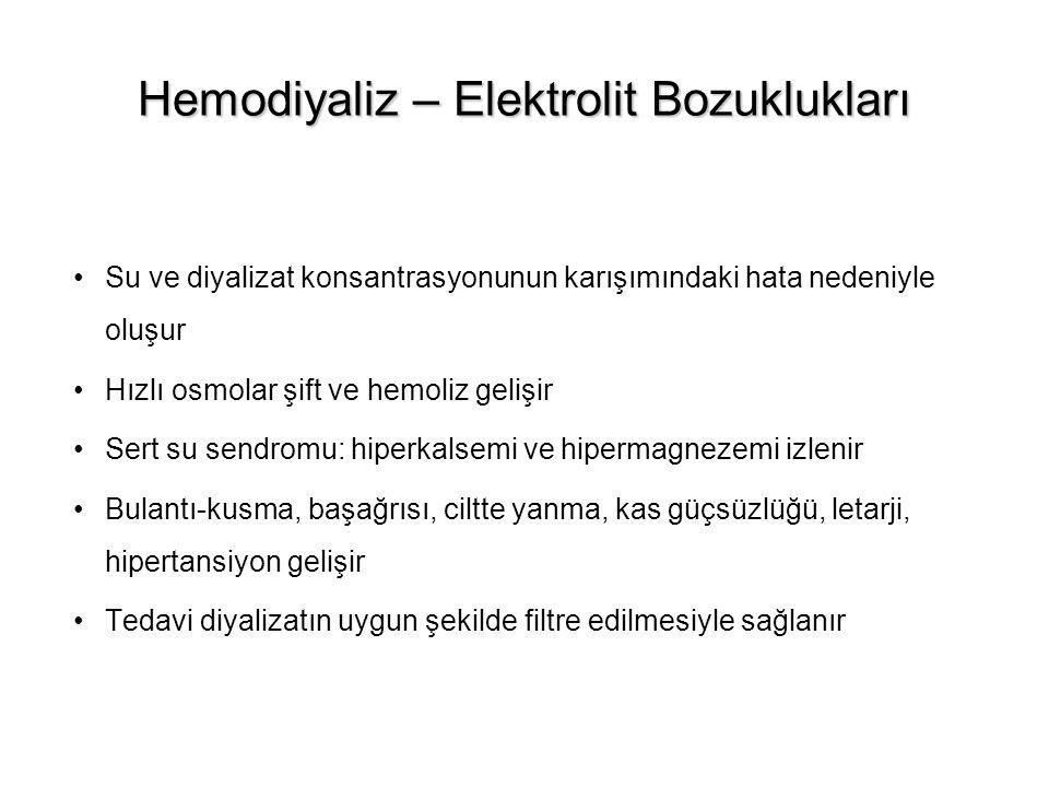 Hemodiyaliz – Elektrolit Bozuklukları Su ve diyalizat konsantrasyonunun karışımındaki hata nedeniyle oluşur Hızlı osmolar şift ve hemoliz gelişir Sert
