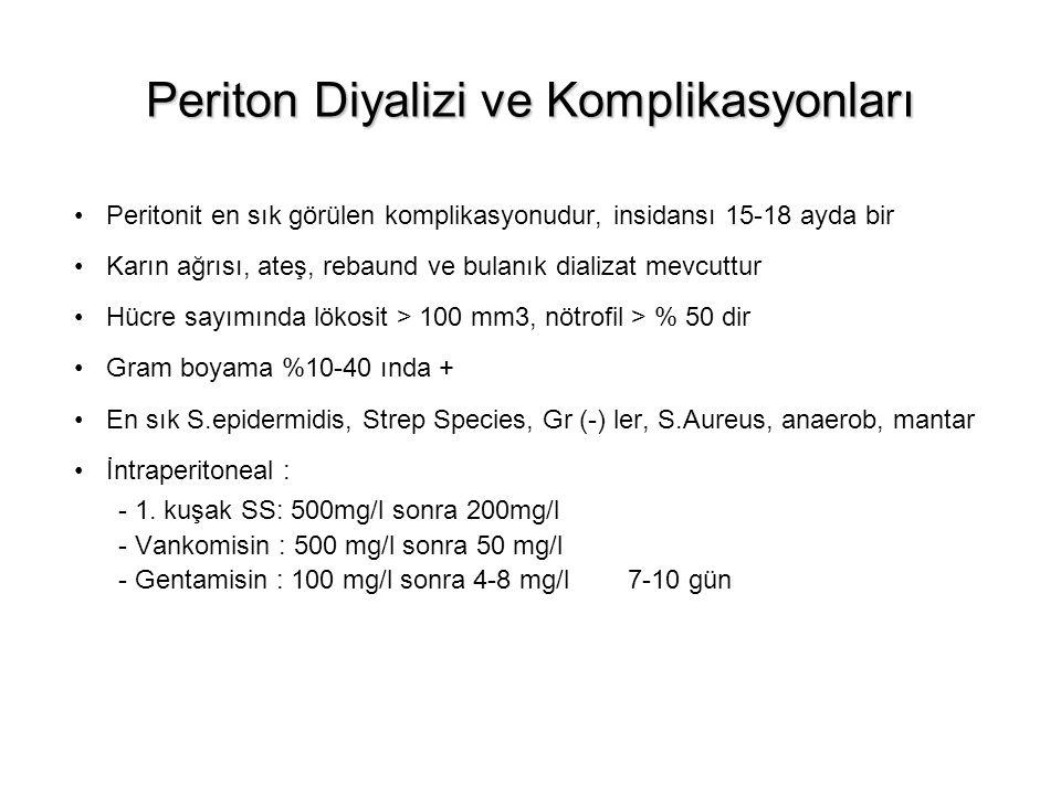 Periton Diyalizi ve Komplikasyonları Peritonit en sık görülen komplikasyonudur, insidansı 15-18 ayda bir Karın ağrısı, ateş, rebaund ve bulanık dializ