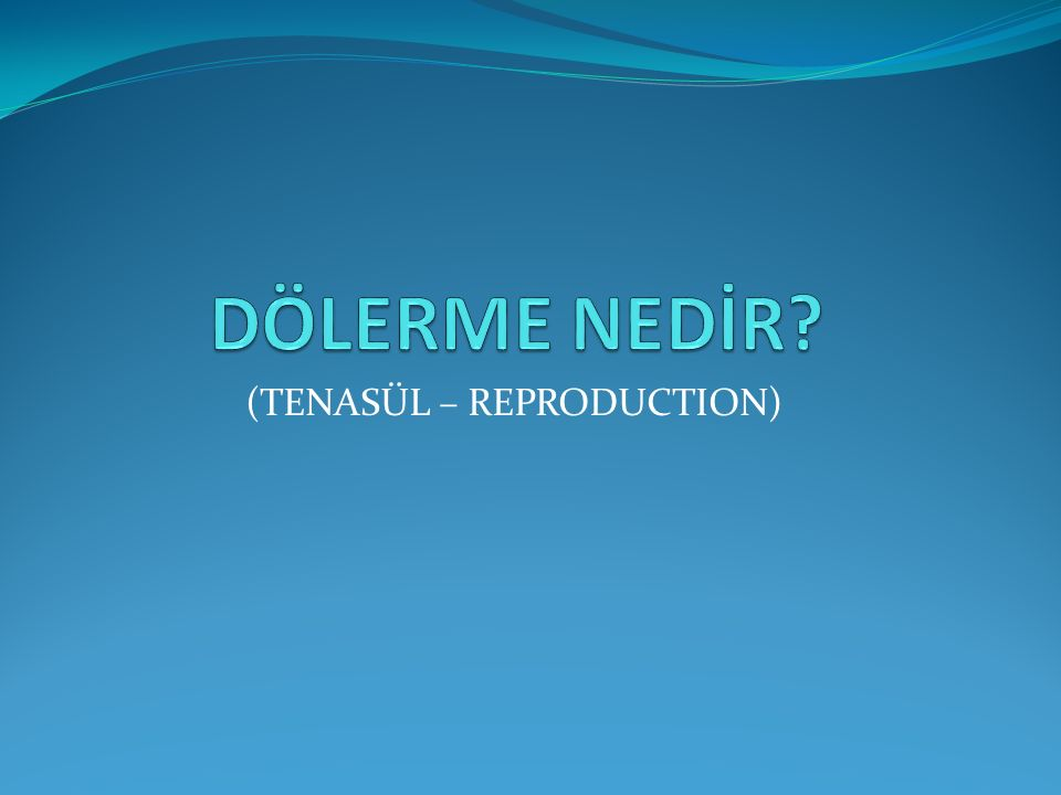 (TENASÜL – REPRODUCTION)