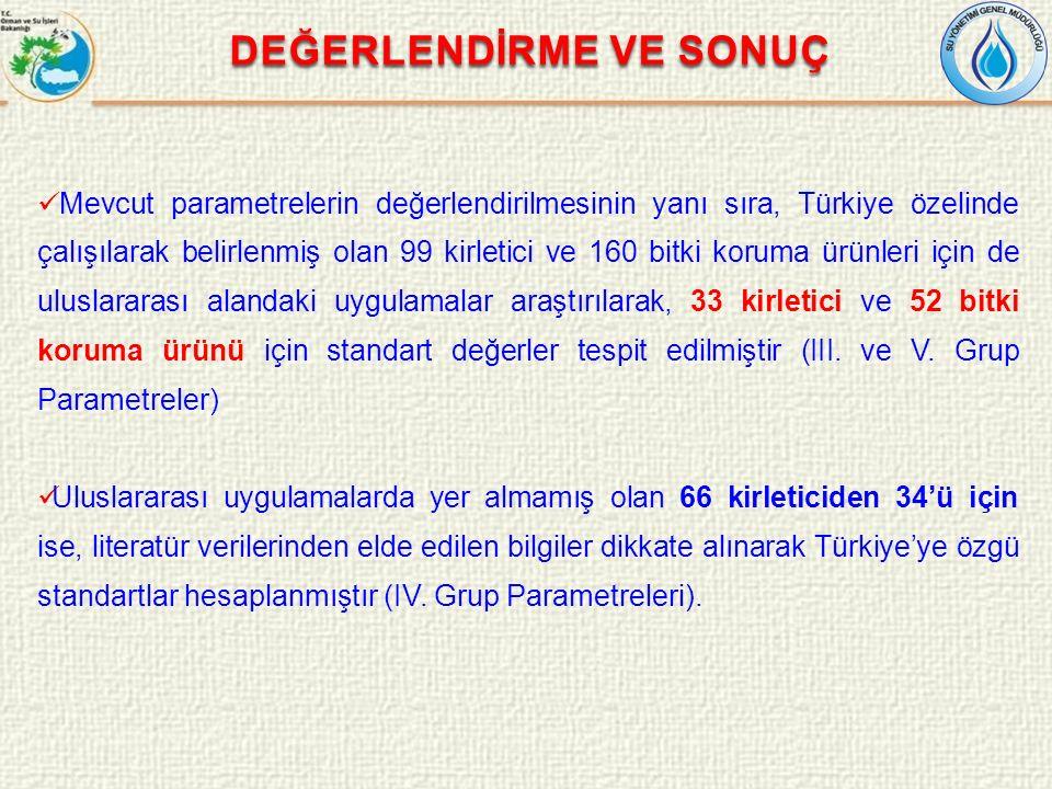 Mevcut parametrelerin değerlendirilmesinin yanı sıra, Türkiye özelinde çalışılarak belirlenmiş olan 99 kirletici ve 160 bitki koruma ürünleri için de