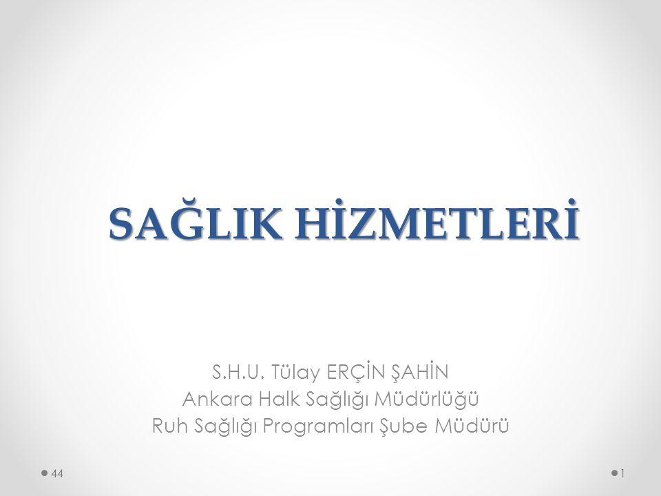 SAĞLIK HİZMETLERİ S.H.U. Tülay ERÇİN ŞAHİN Ankara Halk Sağlığı Müdürlüğü Ruh Sağlığı Programları Şube Müdürü 144