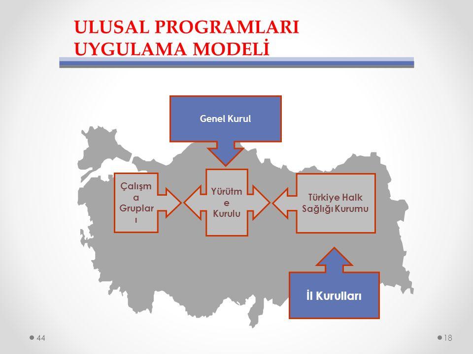 ULUSAL PROGRAMLARI UYGULAMA MODELİ Genel Kurul Çalışm a Gruplar ı Yürütm e Kurulu Türkiye Halk Sağlığı Kurumu İl Kurulları 4418