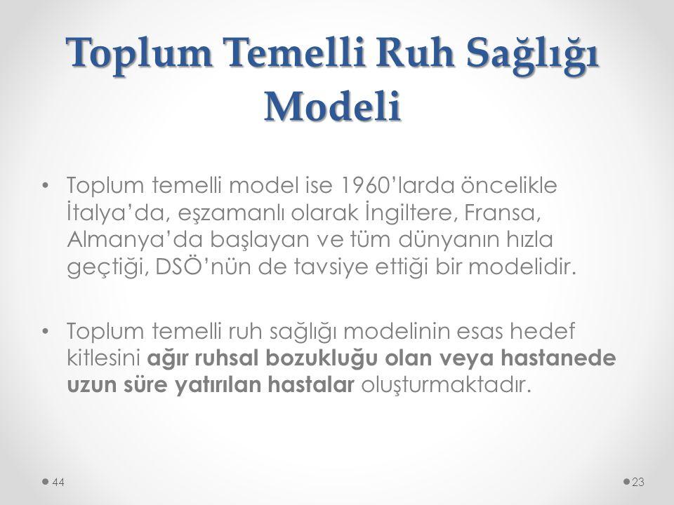 Toplum Temelli Ruh Sağlığı Modeli Toplum temelli model ise 1960'larda öncelikle İtalya'da, eşzamanlı olarak İngiltere, Fransa, Almanya'da başlayan ve