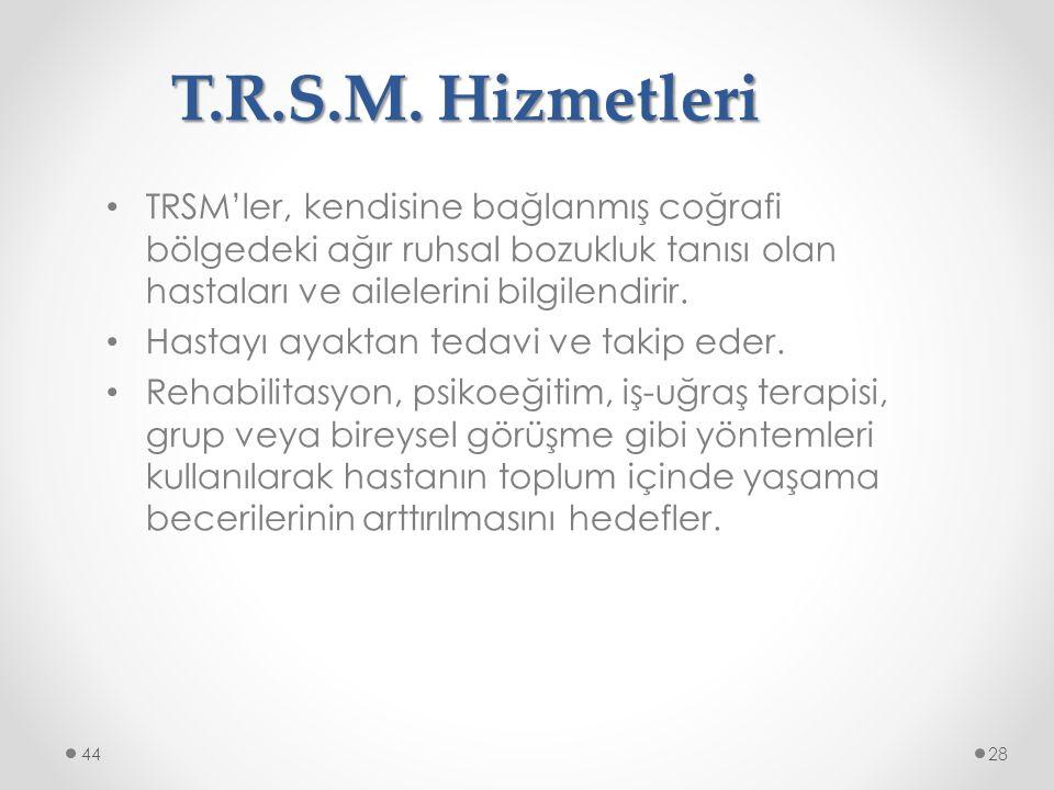 T.R.S.M. Hizmetleri TRSM'ler, kendisine bağlanmış coğrafi bölgedeki ağır ruhsal bozukluk tanısı olan hastaları ve ailelerini bilgilendirir. Hastayı ay