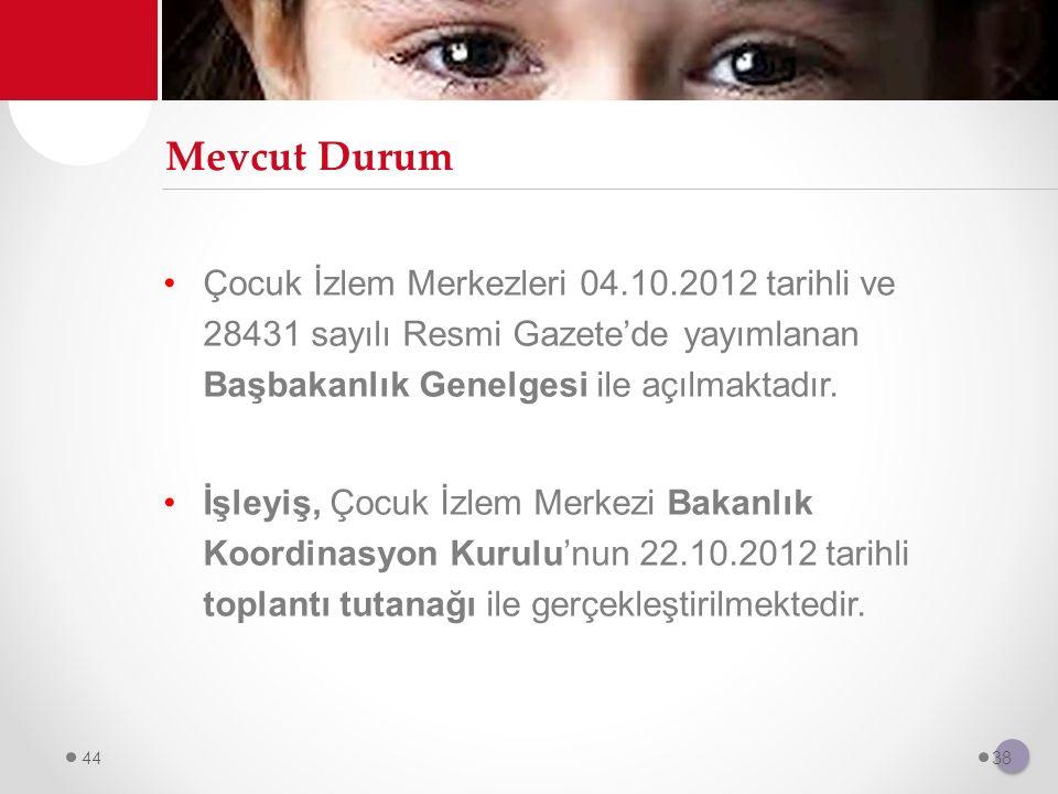 Mevcut Durum Çocuk İzlem Merkezleri 04.10.2012 tarihli ve 28431 sayılı Resmi Gazete'de yayımlanan Başbakanlık Genelgesi ile açılmaktadır. İşleyiş, Çoc