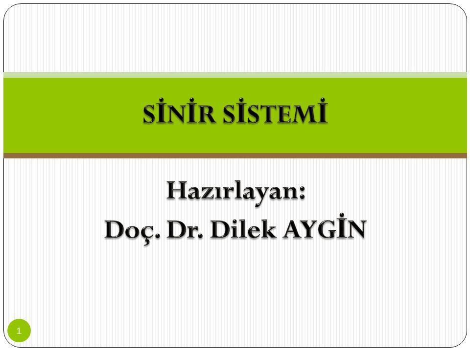 İ çindekiler Sinir Sisteminin Anatomi Ve Fizyolojisi, Sinir Sistemi Hücreleri, Nörotransmetterler, Nöron Tipleri, Sinir Sistemi Fonksiyon Ve Bölümleri, 1.