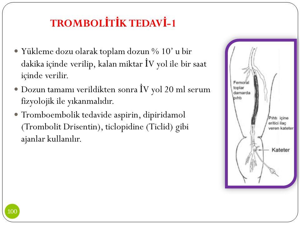 TROMBOL İ T İ K TEDAV İ -1 Yükleme dozu olarak toplam dozun % 10' u bir dakika içinde verilip, kalan miktar İ V yol ile bir saat içinde verilir. Dozun