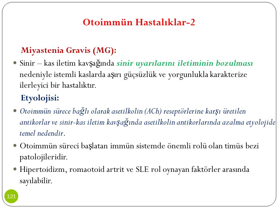 Otoimmün Hastalıklar-2 Miyastenia Gravis (MG): Sinir – kas iletim kav ş a ğ ında sinir uyarılarını iletiminin bozulması nedeniyle istemli kaslarda a ş