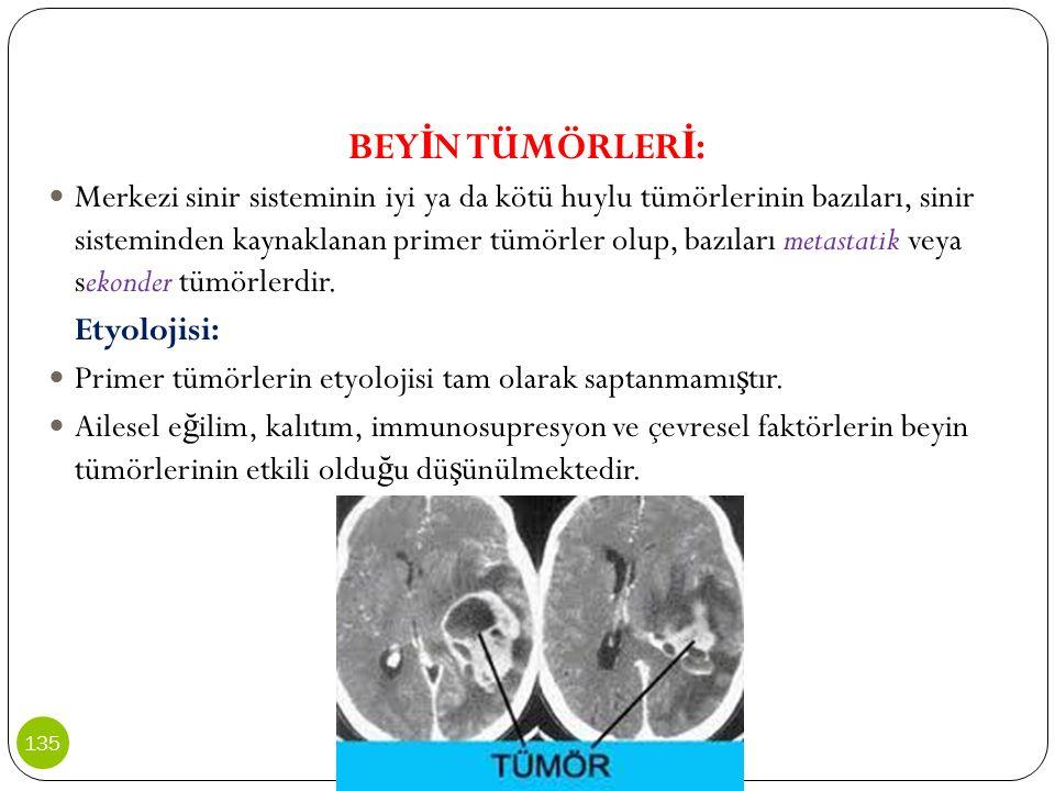 BEY İ N TÜMÖRLER İ : Merkezi sinir sisteminin iyi ya da kötü huylu tümörlerinin bazıları, sinir sisteminden kaynaklanan primer tümörler olup, bazıları