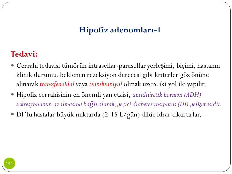 Hipofiz adenomları-1 Tedavi: Cerrahi tedavisi tümörün intrasellar-parasellar yerle ş imi, biçimi, hastanın klinik durumu, beklenen rezeksiyon derecesi