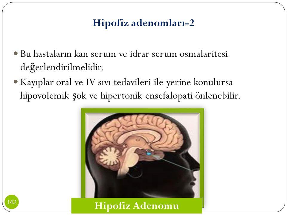 Hipofiz adenomları-2 Bu hastaların kan serum ve idrar serum osmalaritesi de ğ erlendirilmelidir. Kayıplar oral ve IV sıvı tedavileri ile yerine konulu