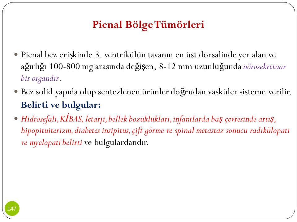 Pienal Bölge Tümörleri Pienal bez eri ş kinde 3. ventrikülün tavanın en üst dorsalinde yer alan ve a ğ ırlı ğ ı 100-800 mg arasında de ğ i ş en, 8-12