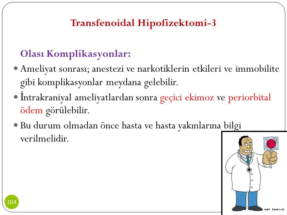 Transfenoidal Hipofizektomi-3 Olası Komplikasyonlar: Ameliyat sonrası; anestezi ve narkotiklerin etkileri ve immobilite gibi komplikasyonlar meydana g