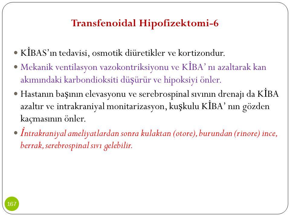 Transfenoidal Hipofizektomi-6 K İ BAS'ın tedavisi, osmotik diüretikler ve kortizondur. Mekanik ventilasyon vazokontriksiyonu ve K İ BA' nı azaltarak k