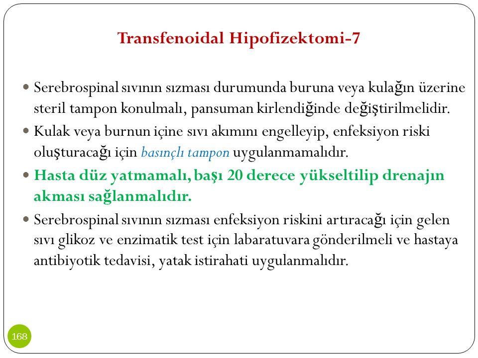 Transfenoidal Hipofizektomi-7 Serebrospinal sıvının sızması durumunda buruna veya kula ğ ın üzerine steril tampon konulmalı, pansuman kirlendi ğ inde